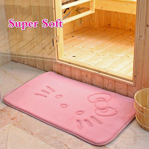 Sytian Cute Cartoon Pink Cat Rug Super Soft Coral Fleece Mat Carpet Slow Rebound Memory Doormat Floor Mat Bath Mat Bathroom Shower Rug Carpet (40x60cm)