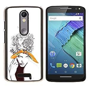 Qstar Arte & diseño plástico duro Fundas Cover Cubre Hard Case Cover para Motorola Droid Turbo 2 / Moto X Force (Hermosa floral tatuaje Mujer)