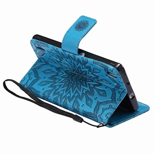 Yiizy Huawei Ascend P7 Custodia Cover, Sole Petali Design Sottile Flip Portafoglio PU Pelle Cuoio Copertura Shell Case Slot Schede Cavalletto Stile Libro Bumper Protettivo Borsa (Blu)