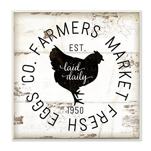 or Collection Stupell Industries Fresh Egg Co Vintage Sign Wall Plaque Art, 12 x 0.5 x 12, Proudly Made in USA (Egg Wall)