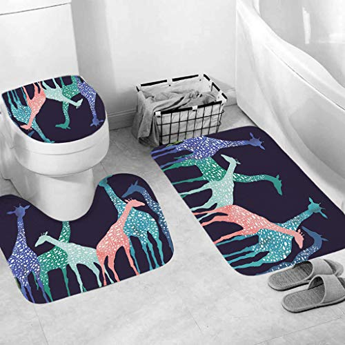 50% 0FF 3PC Bath Mat Rug Set Bathroom Non-Slip Floor Mat Ocean Style Pedestal Rug + Lid Toilet Cover + Bath Mat Set (C, 44 x 75cm/:49 x 39 cm/44 x 38 cm)
