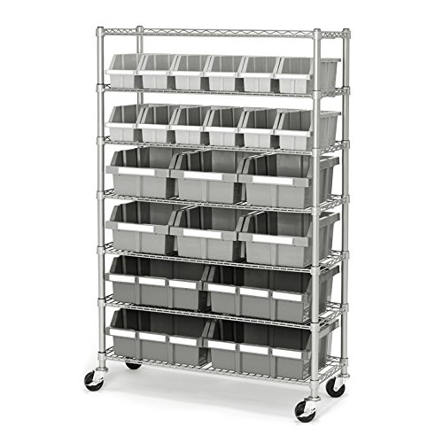 Seville Classics Commercial 7 Tier Platinum/Gray NSF 22 Bin Rack Storage  System