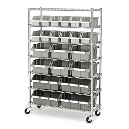 Seville Classics Commercial 7-Tier Platinum/Gray NSF 22-Bin Rack Storage System  sc 1 st  Amazon.com & Storage Bins On Wheels: Amazon.com