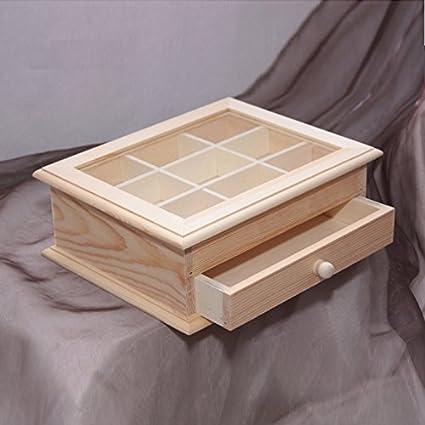 Caja de madera y puerta de plexyglass y cajón para Decoupage. Cajas puertas cajones decoupages