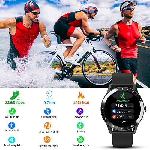 Blackview Smart Watch for Android Phones and iOS Phones, Smart Watches for Men Women, Fitness Tracker Watch with Heart Rate Sleep Monitor, 1.3″ Full Touch Screen, 5ATM Waterproof Pedometer(46mm) 51hklx0J 2BzL