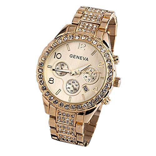 XBKPLO Women Quartz Watch,Luxury Geneva Three-Eye Fashion Diamond Analog Wrist Watches Automatic Date Window Steel Strap