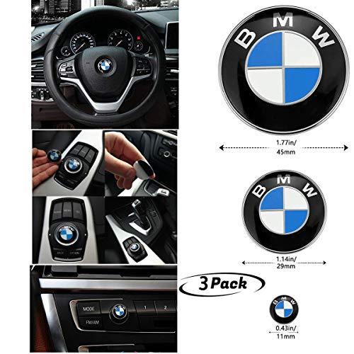 Sportys Radio Accessories - 3Piece DIY BMW Steering Wheel Emblem Decal, BMW Multimedia Center Button iDrive Controller Decal, BMW Radio Button Decal, for BMW Decoration Combination