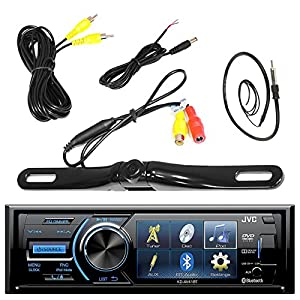 "JVC KD-AV41BT 3"" Inch Display Car CD DVD USB Bluetooth Stereo Receiver Bundle Combo With License Plate Mount Rear View Colored Backup Parking Camera, Enrock 22"" AM/FM Radio Antenna"