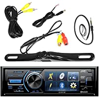 JVC KD-AV41BT 3 Inch Display Car CD DVD USB Bluetooth Stereo Receiver Bundle Combo With License Plate Mount Rear View Colored Backup Parking Camera, Enrock 22 AM/FM Radio Antenna