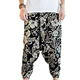 Hzcx Fashion Men's Vintage Cotton Blends Linen Drop Crotch Jogging Harem Pants DSC229-DK69-60-MG-US M TAG XL