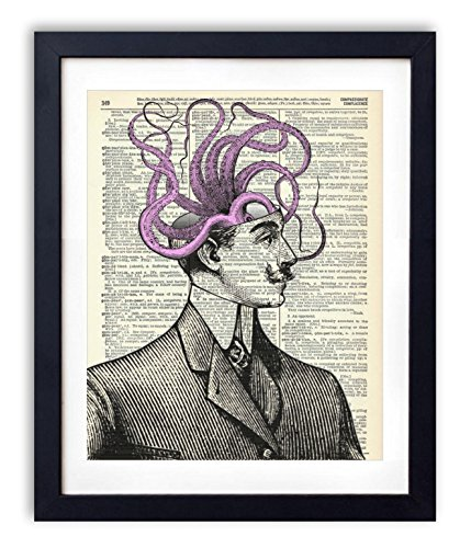 Octopus Brain Upcycled Vintage Dictionary Art Print 8x10
