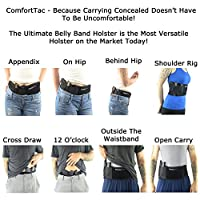ComfortTac Ultimate Belly Band Holster for Concealed Carry, Black