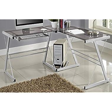 WE Furniture 3 Piece Soreno Silver with Smoke Glass Corner Desk, Grey