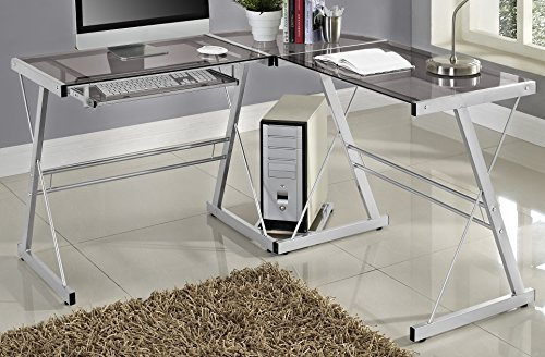 WE Furniture 3 Piece Soren Silver with Smoke Glass Corner Desk, Grey