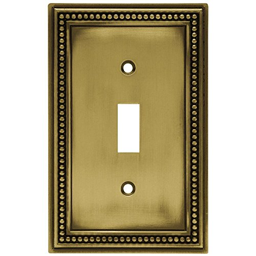 Beaded Decorative Single Switch Plate, Tumbled Antique Brass by Hampton Bay