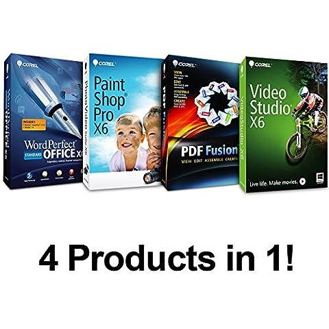 Complete PC Office Suite 4 - Includes : Corel WordPerfect Office X6, Paintshop Pro X6, Video Studio X6, & PDF Fusion ($499 Retail (Word Perfect Office Suite)