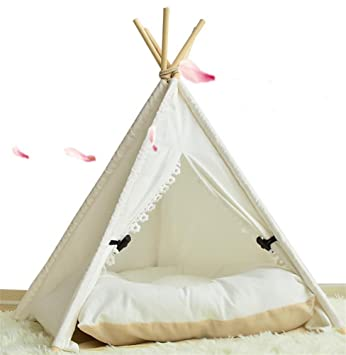 AnGe Teepee para mascota, cama para perros extraíble y lavable Pet Play Tent House para