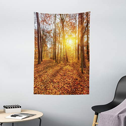 Ambesonne Forest Tapestry, Foggy Sunset Vibrant Sunbeams Rural Country Woodland in Fall Scenery Image, Wall Hanging for Bedroom Living Room Dorm Decor, 40 X 60 , Orange Yellow
