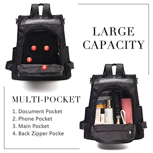 Waterproof Barwell bags Black Women Nylon School Dayback Shoulder Ladies theft Anti Rucksack Bags Backpack dI4ZrSqI