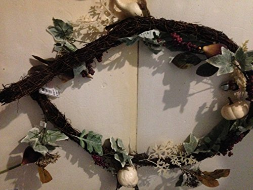 6 Foot Flexible Grapevine Garland with Fall Squash, Berries and Silk Leafs and Flowers in Mossy Greens MSRP 39.99each (2 Garlands per Order = 12 Foot Total Garland)