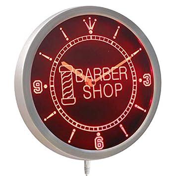 ADVPRO nc0245-b Barber Pole Shop Hair Cut OPEN Neon Sign LED Wall Clock