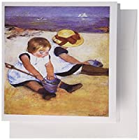 3dRose 1884 Mary Cassatt Children On The Beach - Greeting Cards, 6 x 6 inches, set of 12 (gc_109802_2)