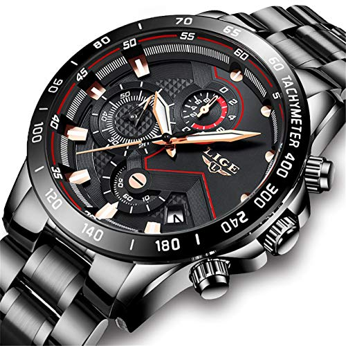 LIGE Watch Men Black Stainless Steel Waterproof Analog Quartz Men Business Wristwatch
