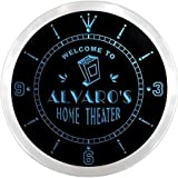 ncph0609-b ALVARO'S Home Theater Movie Bar Beer LED Neon Sign Wall Clock