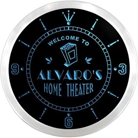 b ALVARO'S Home Theater Movie Bar Beer LED Neon Sign Wall Clock