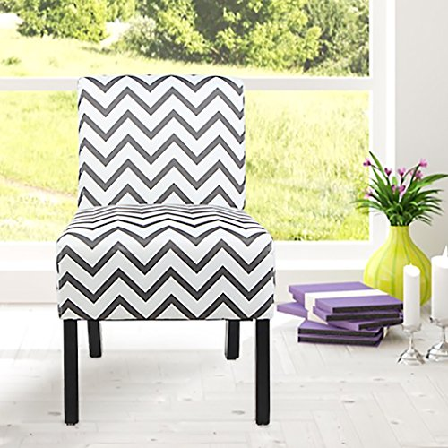 VIVA HOME Modern Fabric Upholstery Armless Accent Chair w/Pine Wood Legs for Kitchen Dining Living Room, Striped Pattern (Striped Chair Modern)