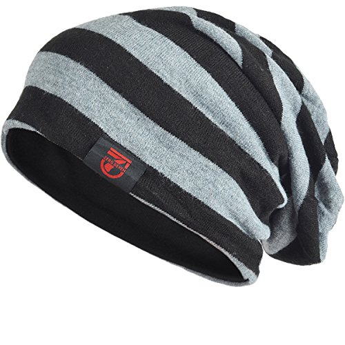 7bad9003f0b Stylish Men Women Slouch Beanie Basic Skull Cap Designer B010 (Black with  Grey)