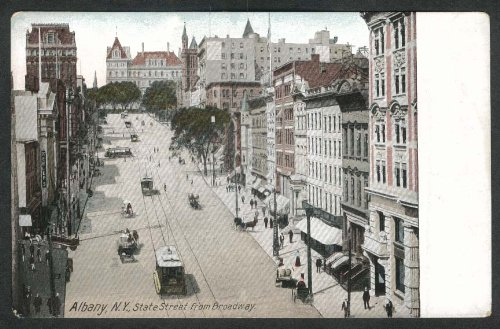 State Street Broadway trolley Keeler's Ten Eyck capitol Albany NY postcard (Broadway Trolley)