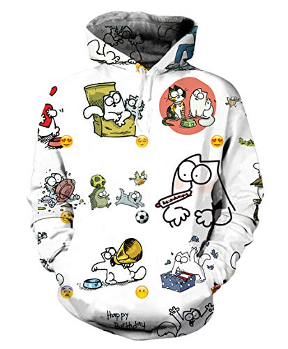 Harajuku 3D Print Kawaii Simon Cat Hoodie Funny Casual Outfits Men Women Cute Cartoon -