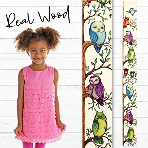 Growth Chart Art | Owl Growth Chart Ruler | Wood Height Ruler for Kids [Boys + Girls] | Kids Growth Chart Wood | Measuring Kids Height Wall Décor ()