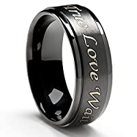 True Love Waits Purity Ring in Titanium Black Plated (8mm wide) - Men's & Women's Sizes