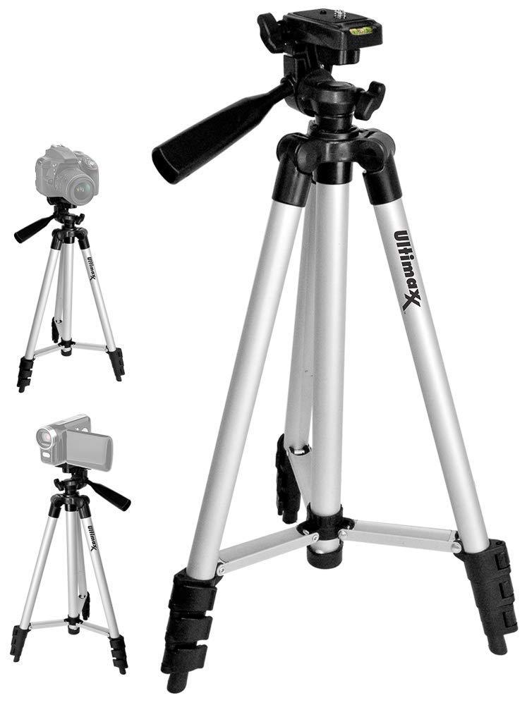 Ultimaxx 50インチ 軽量ポータブルカメラ三脚スタンド キャリーバッグ付き すべてのデジタル一眼レフカメラとビデオカメラ用   B07PN6QFBY