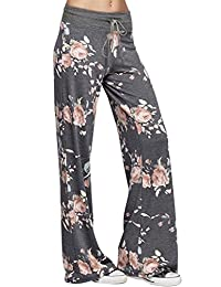 Ulily Women's Floral Drawstring High Waist Palazzo Wide Leg Pants S-3X