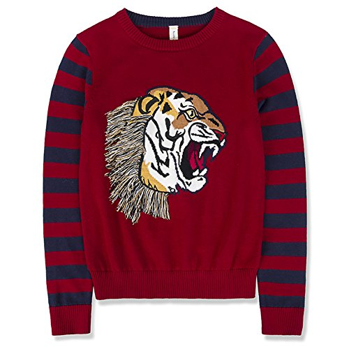 Benito & Benita Boys Sweaters Crew Neck Pullover Tiger Cotton Sweater with Stripes for (Tiger Cotton Sweater)