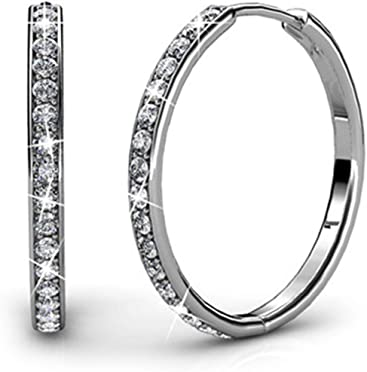 1ad6e3130 Cate & Chloe Bianca 18k White Gold plated brass Hoop Earrings with Swarovski  Crystals, Crystal
