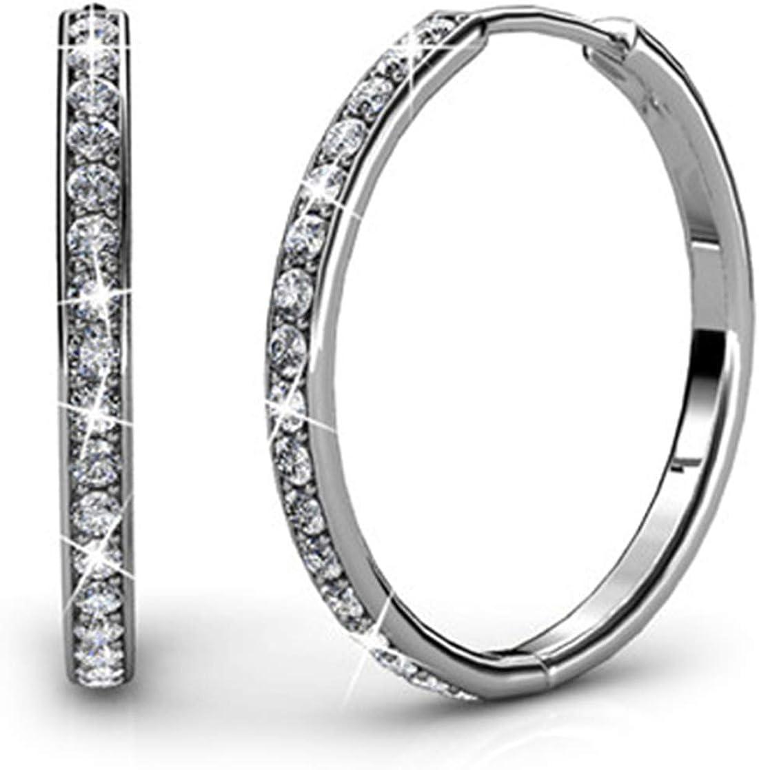 Cate&Chloe Bianca 18 K oro blanco Swarovski Pendientes de aro, cristal gota Dangle Pendientes, mejor plata aros para las mujeres, las niñas, señoras, special-occasion joyas con cristales de Swarov