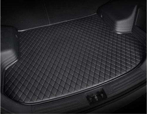 Leather Car Rear Trunk Mat Waterproof Handmade Cargo Liner for Jaguar XF 2016-2018(Black) by Seven-flower