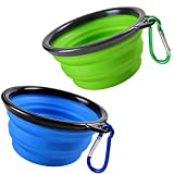 Pop-up Dog Bowl & Pet Bowl - Collapsible Travel Silicone Camping Crate Dish Bowl - 2 Cup Set