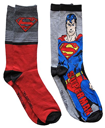(DC Comics Superman Character Men's Crew Socks 2 Pair Pack Shoe Size 6-12)