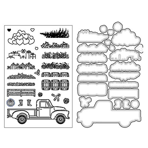 Stampin Up Halloween Stamp Sets (Farm Harvest Goods Clear Stamp with Cutting Dies for Card Making DIY Die Cuts and Stamp Sets Paper Card Scrapbooking)