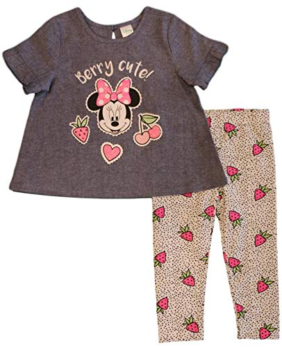 Minnie Mouse Disney Baby Girls Chambray Leggings Set, White (6-9 Months) -