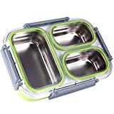 Slim Bento Lunch Box Set-- All-in-one Stylish Leak-proof Food Container with 3 Removeable Stainless Steel Compartments For Adults Dishwasher Microwave Safe