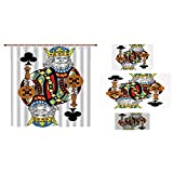 iPrint Bathroom 4 Piece Set Shower Curtain Floor mat Bath Towel Fashion,King,King of Clubs Playing Gambling Poker Card Game Leisure Theme Without Frame Artwork,Multicolor,Custom Design.