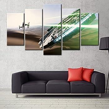 5 Panel Canvas Art Wall Framed Paintings Modern Art Print Star Wars Movie  Poster Printed On