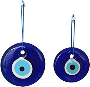 Erbulus Turkish Glass Blue Evil Eye Wall Hanging Ornament - Turkish Nazar Beads - Evil Eye Home Protection Charm Set of 2 - Wall Decor Amulet in a Box