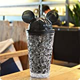 Okayji Frosty Mason Jar Super Ice Cup with Straw Freezing Gel for Juice, Beer, Soft Drinks, Water, 1-Pieces (Black)